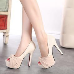 Women's Leatherette Stiletto Heel Pumps Platform Peep Toe With Bowknot shoes (085112187)