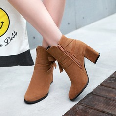Women's Suede Chunky Heel Pumps Ankle Boots With Bowknot Zipper shoes