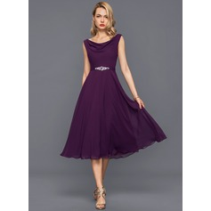 A-Line/Princess Cowl Neck Knee-Length Chiffon Cocktail Dress With Beading Sequins