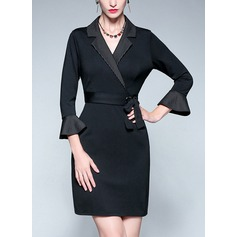 Spandex With Stitching Above Knee Dress (199135941)