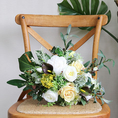 Cute Free-Form Silk Flower Bridal Bouquets -