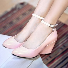 Women's Leatherette Wedge Heel Pumps Closed Toe Wedges shoes