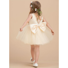 Knee-length Flower Girl Dress - Satin Tulle Sleeveless Scoop Neck With Beading (269237346)