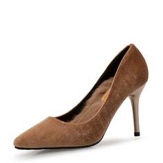 Femmes Suède Talon stiletto Escarpins Bout fermé avec Fourrure chaussures