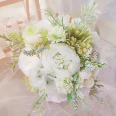 Classic Hand-tied Satin/Ribbon/Emulational Berries/Linen Rope/Artificial Flower Bridal Bouquets/Bridesmaid Bouquets (Sold in a single piece) - Bridal Bouquets/Bridesmaid Bouquets