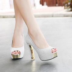 Women's Leatherette Chunky Heel Peep Toe Platform Pumps With Sparkling Glitter