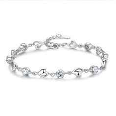 Ladies' Beautiful 925 Sterling Silver With Diamond Cubic Zirconia Bracelets For Bride/For Bridesmaid