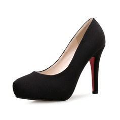 Women's Suede Stiletto Heel Pumps Closed Toe shoes (085094409)