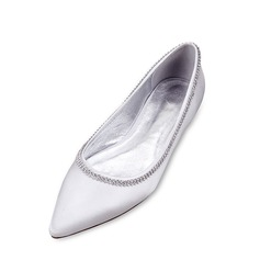 Women's Silk Like Satin Low Heel Closed Toe Flats With Rhinestone Chain