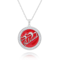 Custom Silver 3D Straight To My Heart Engraved Necklace Circle Necklace - Birthday Gifts Mother's Day Gifts
