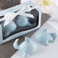 """Kissing Fish"" Ceramic Salt & Pepper Shakers With Ribbons (Set of 2 pieces)"
