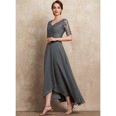 A-Line V-neck Asymmetrical Chiffon Lace Mother of the Bride Dress