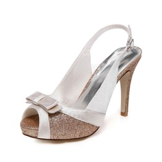 Women's Satin Sparkling Glitter Stiletto Heel Peep Toe Sandals