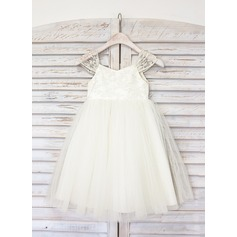 A-Line/Princess Knee-length Flower Girl Dress - Tulle Straps With Lace
