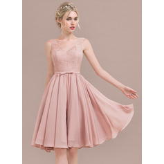 V-neck Knee-Length Chiffon Lace Bridesmaid Dress (266213360)