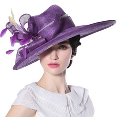 Ladies' Beautiful/Fashion/Glamourous Cambric With Feather Beach/Sun Hats/Kentucky Derby Hats