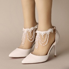 Women's Leatherette Stiletto Heel Closed Toe Pumps With Buckle Imitation Pearl Tassel Crystal (047104110)