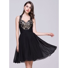 A-Line/Princess Sweetheart Knee-Length Chiffon Homecoming Dress With Ruffle