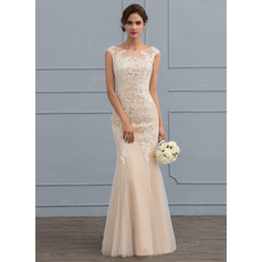 Trumpet/Mermaid Scoop Neck Floor-Length Tulle Lace Wedding Dress (265213120)