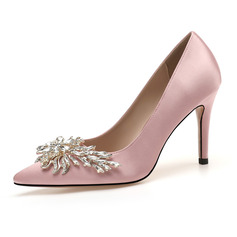 Women's Cloth Stiletto Heel Pumps With Rhinestone