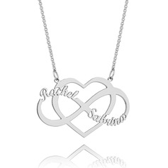 Custom Sterling Silver Multiple Two Name Necklace Infinity Name Necklace With Heart - Valentines Gifts
