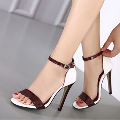 Women's Leatherette Stiletto Heel Sandals Peep Toe With Buckle shoes (087116058)