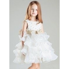 Empire Knee-length Flower Girl Dress - Satin/Cotton Sleeveless Scoop Neck With Ruffles/Beading/Bow(s)