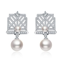 Romantic Copper/Zircon/Imitation Pearls/S925 Sliver Ladies' Earrings
