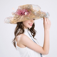Ladies' Gorgeous Cotton/Net Yarn With Silk Flower Floppy Hat