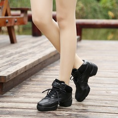 Unisex Real Leather Sneakers Jazz Sneakers Party With Lace-up Dance Shoes