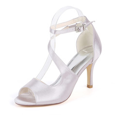 Women's Silk Like Satin Stiletto Heel Pumps Sandals With Buckle Elastic Band