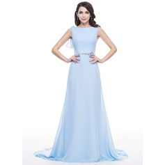 A-Line/Princess Scoop Neck Court Train Chiffon Lace Evening Dress With Lace Beading Sequins Cascading Ruffles