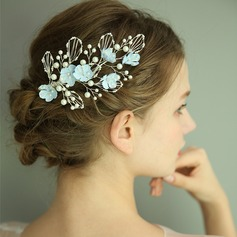 Ladies Gorgeous Silk Flower Hairpins With Venetian Pearl (Sold in single piece)
