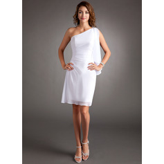Sheath/Column One-Shoulder Knee-Length Chiffon Cocktail Dress With Ruffle Beading (270193836)
