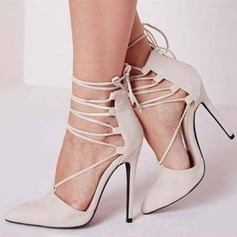 Women's Suede Stiletto Heel Pumps Sandals With Lace-up