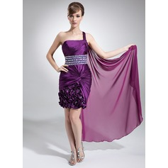Sheath/Column One-Shoulder Watteau Train Chiffon Prom Dress With Ruffle Beading Flower(s)