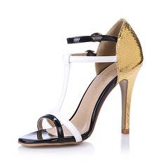 Leatherette Sandals Pumps Peep Toe With Buckle shoes