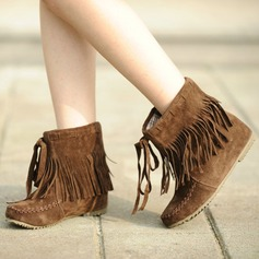 Women's Suede Flat Heel Flats Closed Toe Boots Ankle Boots Snow Boots With Tassel shoes