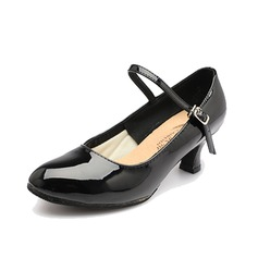 Women's Patent Leather Heels Pumps Ballroom Character Shoes With Buckle Dance Shoes