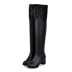 Women's Leatherette Wedge Heel Over The Knee Boots With Fur shoes