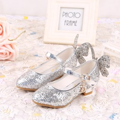 Girl's Closed Toe Leatherette Flat Heel Flats Flower Girl Shoes With Bowknot Sparkling Glitter Velcro