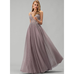 V-neck Floor-Length Tulle Prom Dresses With Lace Beading Sequins Split Front (272236114)