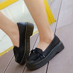 Women's PU Low Heel Flats Closed Toe With Lace-up Tassel shoes