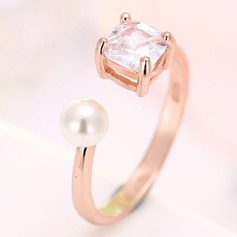 Beautiful Copper/Zircon/Gold Plated/Silver Plated/Rose Gold Plated With Pearl Rings