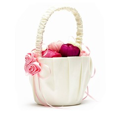 Lovely Flower Basket in Satin With Ribbons (102049612)