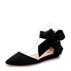 Women's Suede Flat Heel Flats Closed Toe With Bowknot shoes (086154818)