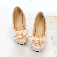 Jentas Round Toe Lukket Tå Silk Som Satin Flate sko Sneakers & Athletic Flower Girl Shoes med Blomst