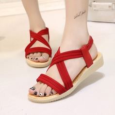 Women's Suede Fabric Flat Heel Sandals Peep Toe Slingbacks With Others Elastic Band shoes