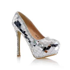 Women's Real Leather Stiletto Heel Pumps With Rhinestone (047104501)