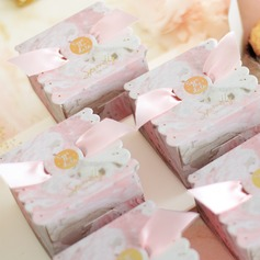 Lovely Cubic Card Paper Favor Boxes & Containers With Ribbons